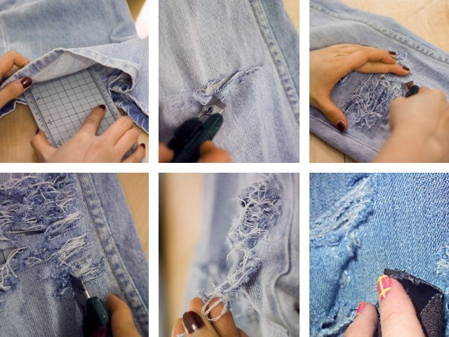 Как сделать дырки и потертости на джинсах?