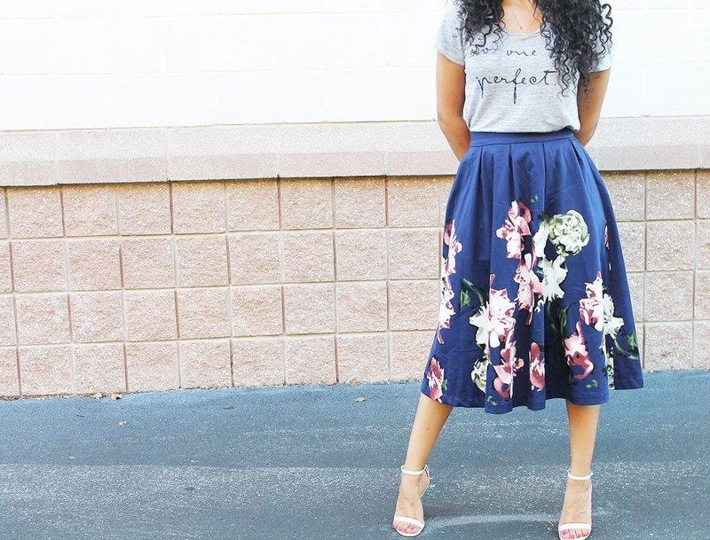 Синяя модная юбка