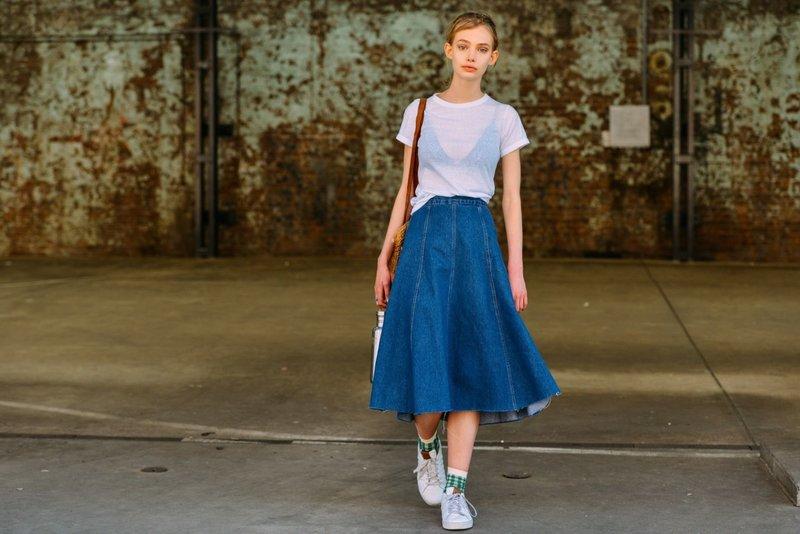Удлиненная юбка из денима