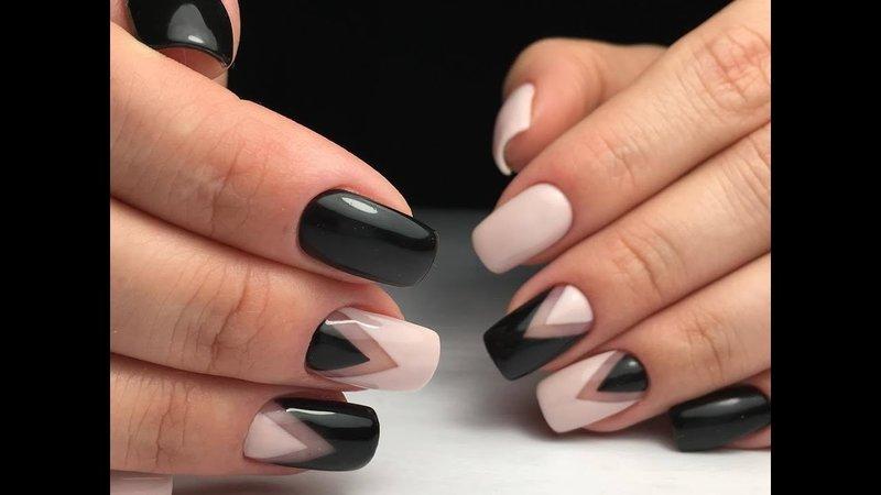 Нейл-арт - черно-белая геометрия