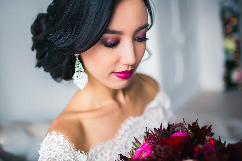 Яркий свадебный макияж для азиатского типа лица