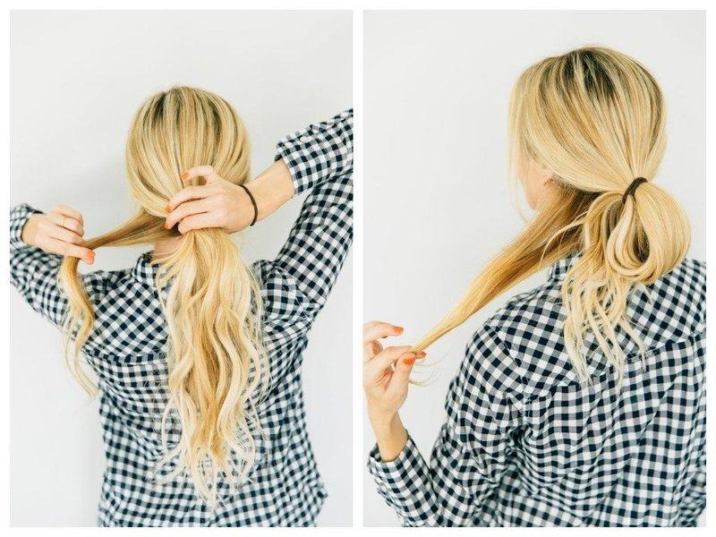 Разделение волос для пучка