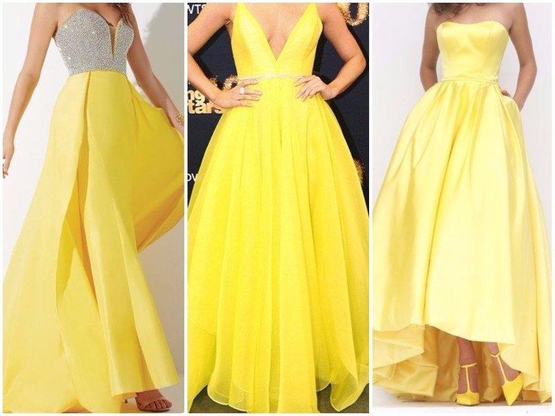 Желтые платья для новогоднего образа