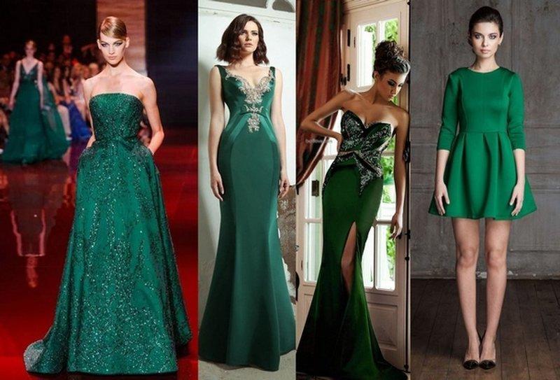 Темно-зеленые платья для новогоднего образа