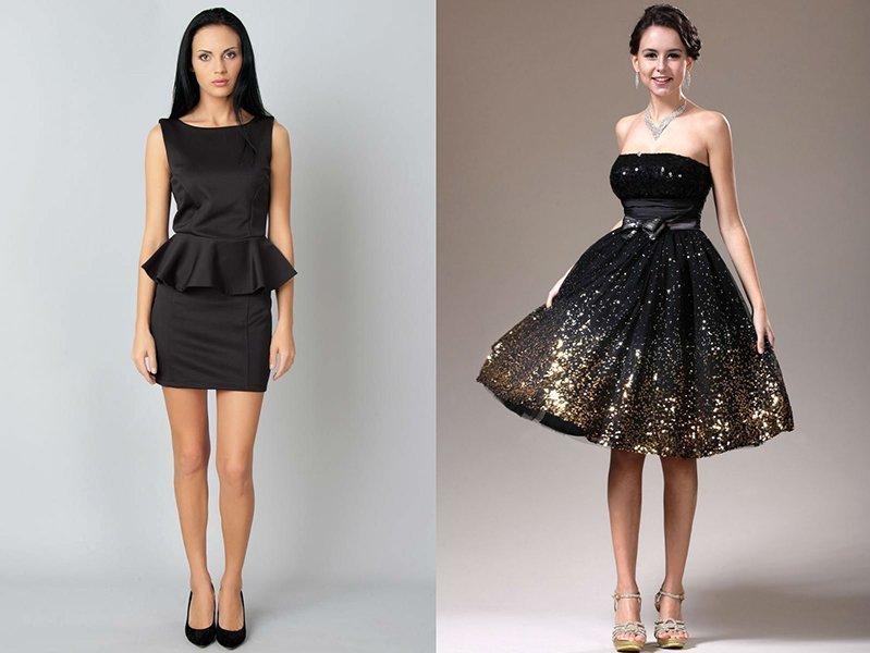 Девушки в красивых черных платьях