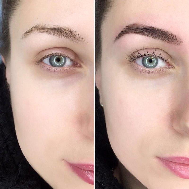 Пример удачного перманентного макияжа бровей