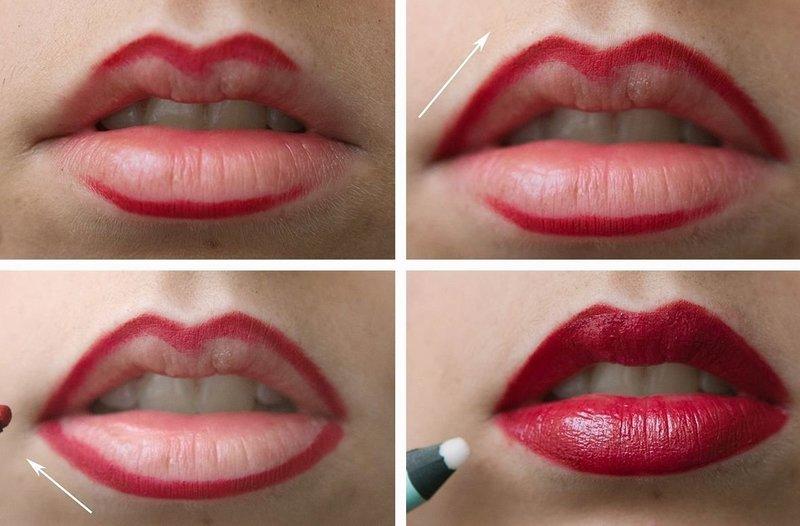 Нанесение контура на губы