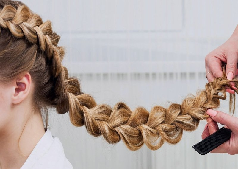 Объёмная коса на длинные волосы