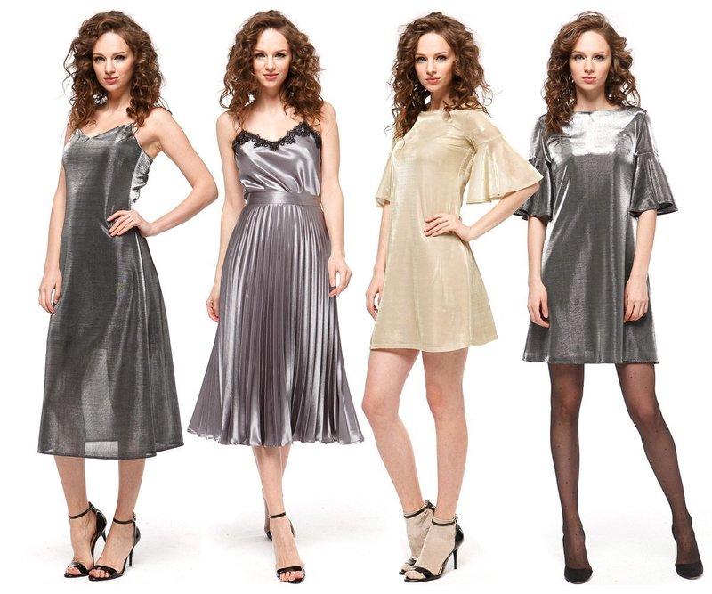 Серебристые платья для празднования Нового года