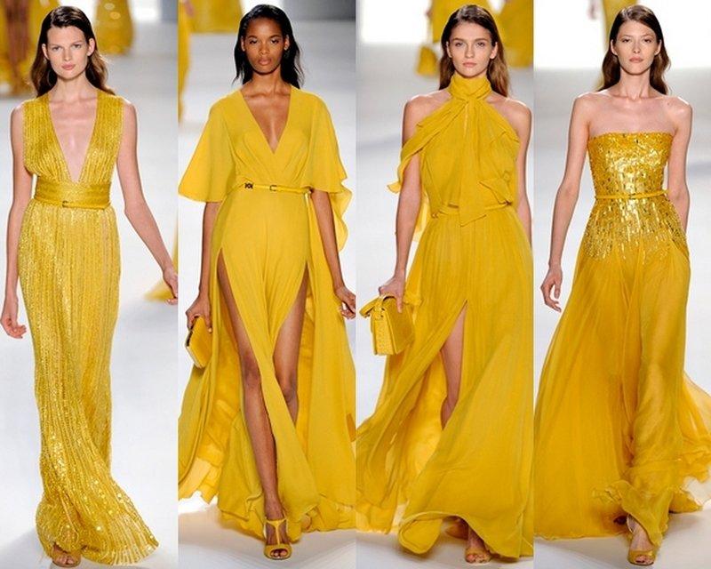 Выбор платьев в желтой цветовой гамме