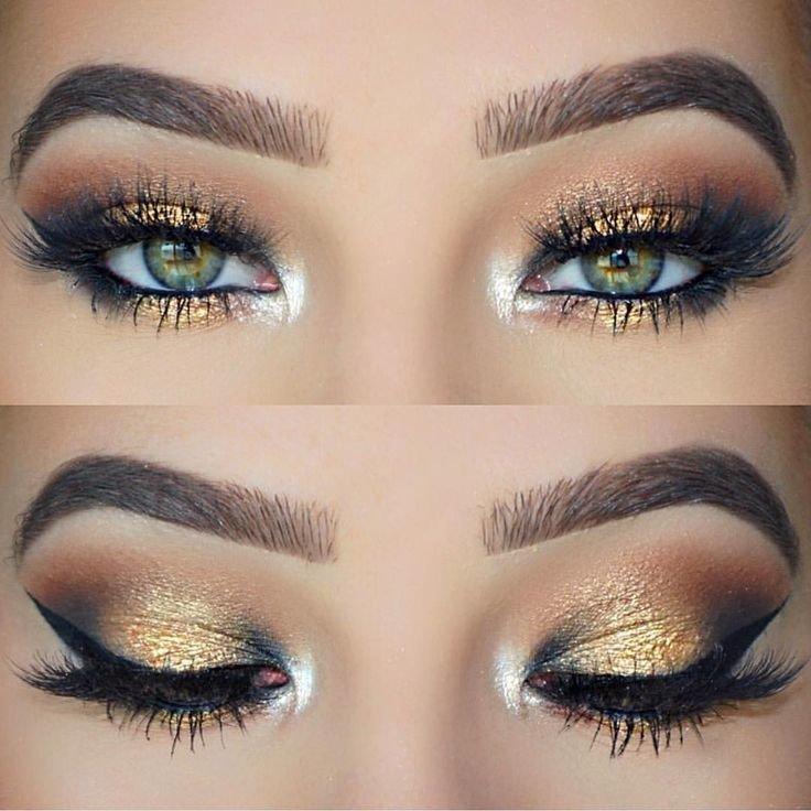 Золотистый макияж со стрелками