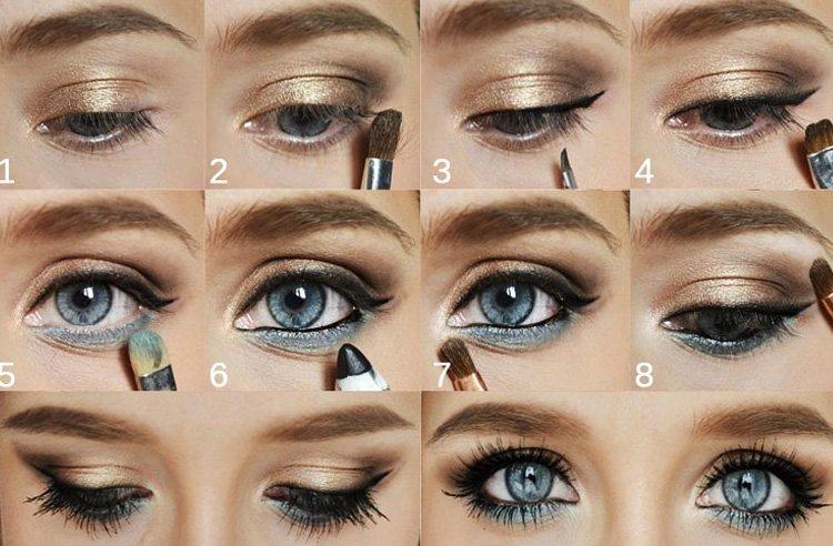 Нюдовый макияж для серо-голубых глаз