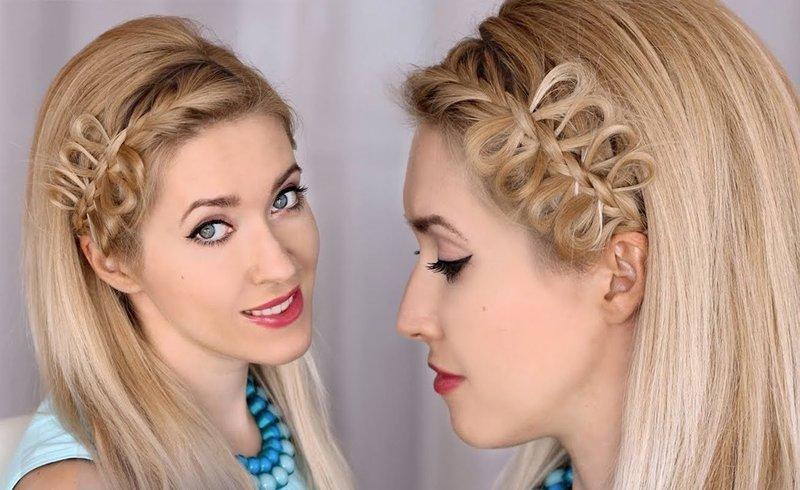 Необычная причёска с украшением из волос
