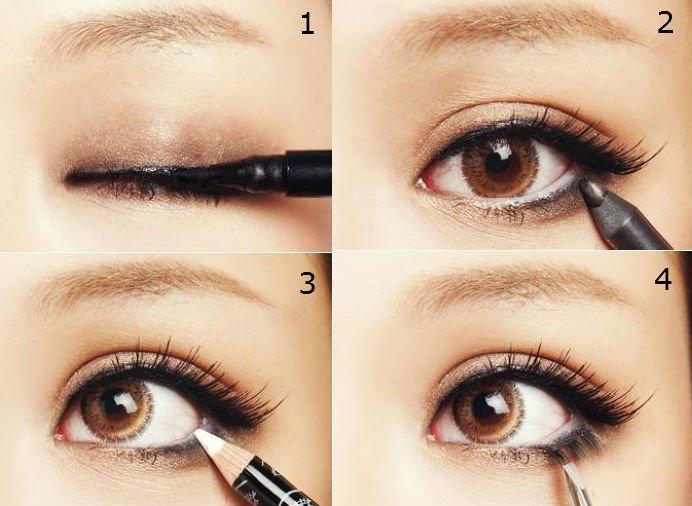 Прорисовка глаз при нанесении японского макияжа