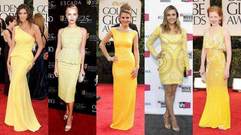 Девушки в платьях желтых оттенков