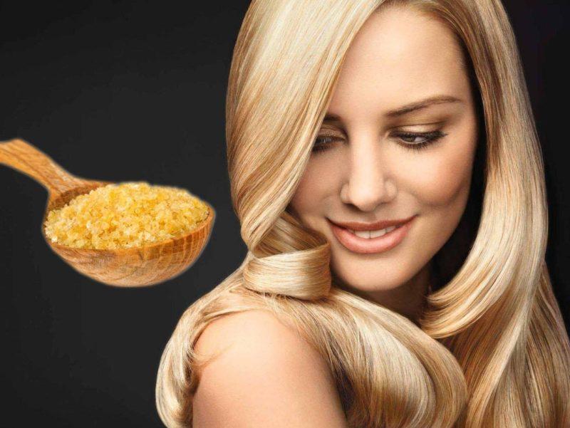 Эффект ламинированных волос с помощью желатина