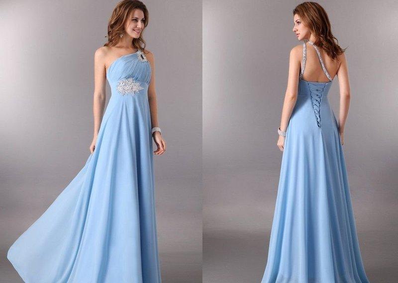 Нежно-голубое платье на выпускной