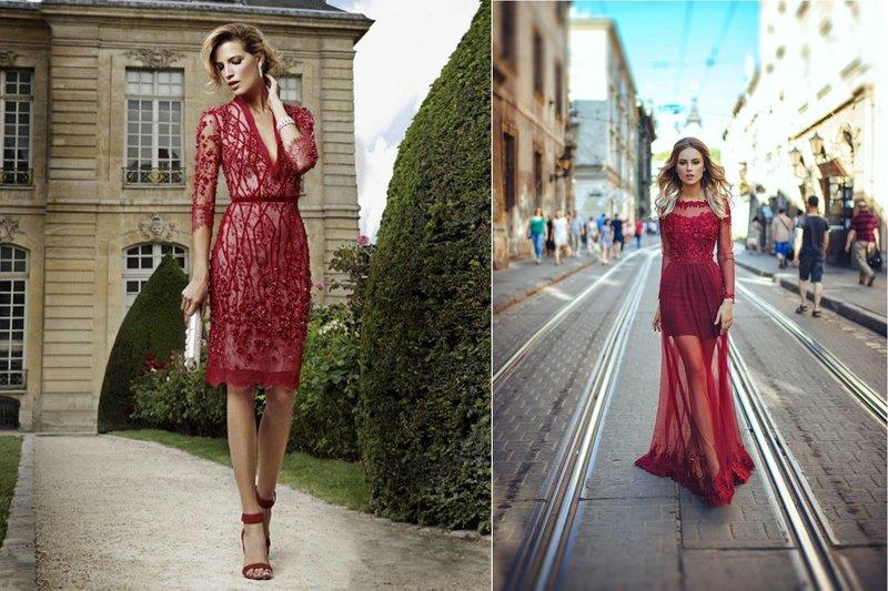 Прозрачные платья бордового цвета