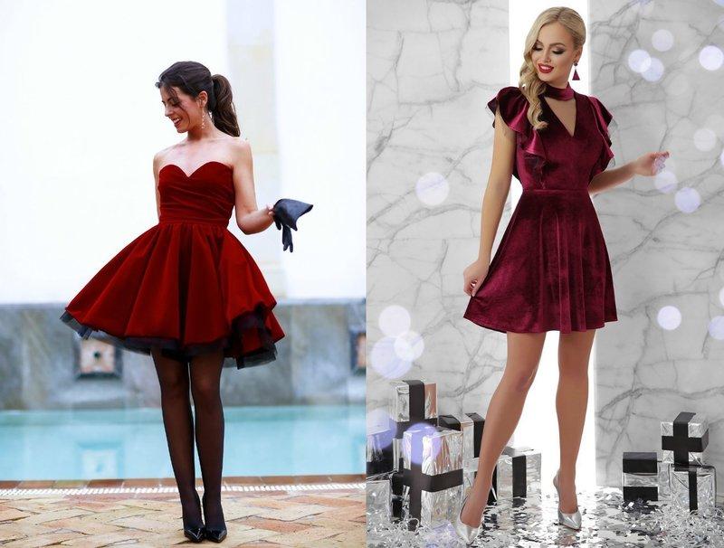 Короткие платья на выпускной красного и бордового цвета