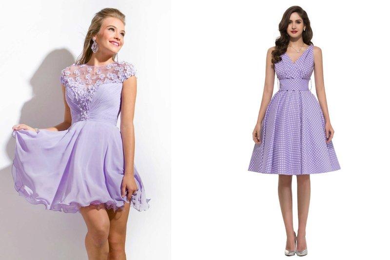 Короткие платья на выпускной фиолетового цвета
