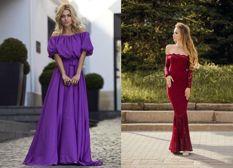 Красивые платья с открытыми плечами
