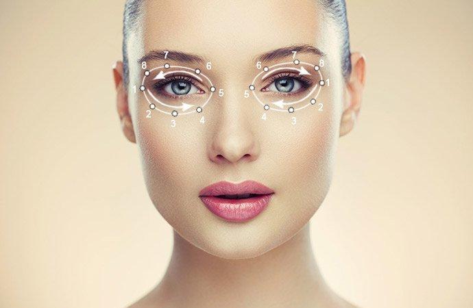 Схема снятия макияжа вокруг глаз