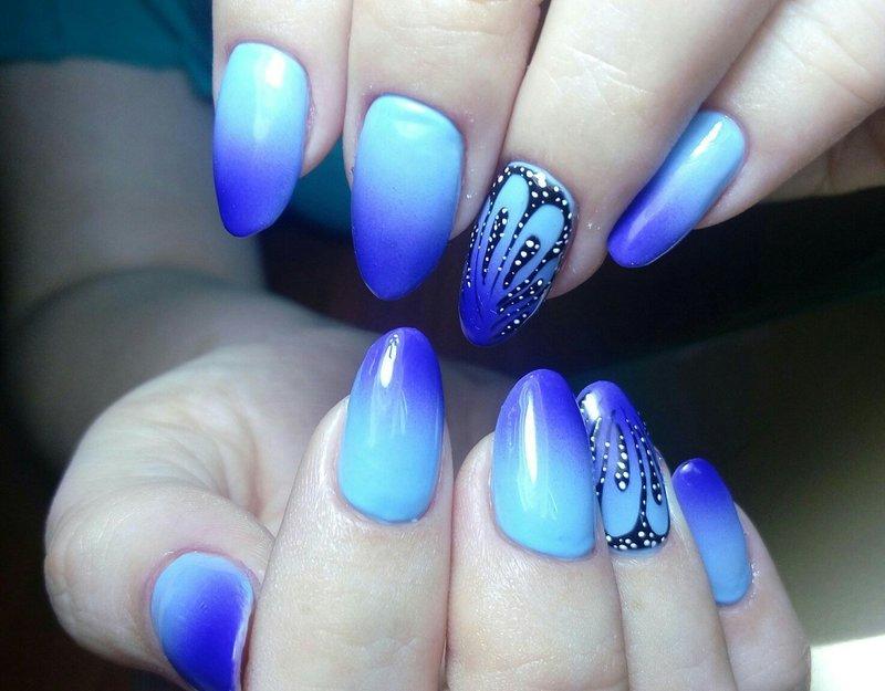Синее омбре с рисунком