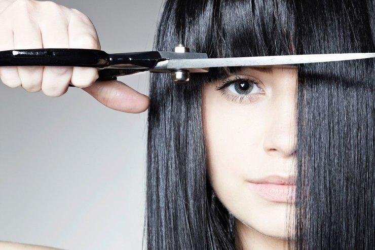 Моделирование челки на длинные волосы