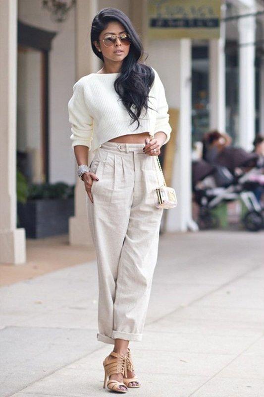 Кроп-свитер с брюками