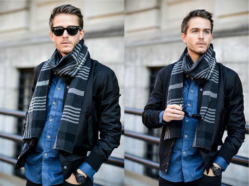Модный шарф в клетку для мужчин