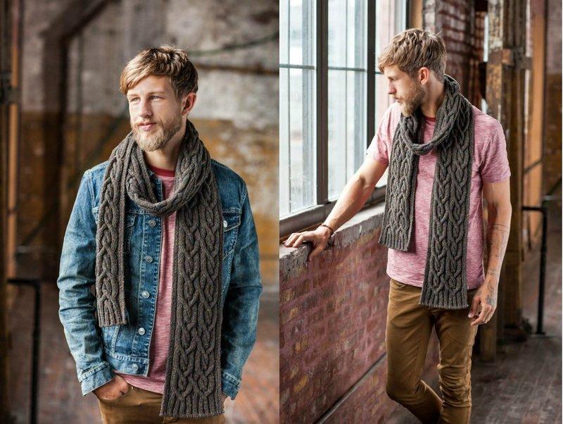 Стильный образ с шарфом крупной вязки