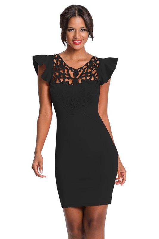 Девушка в черном кружевном коктейльном платье