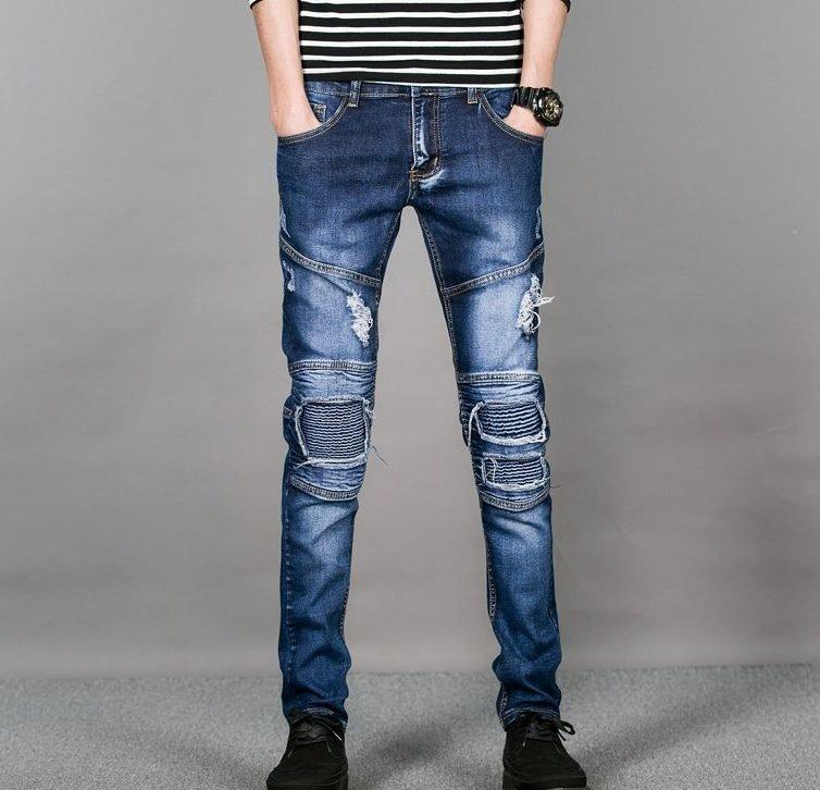 Мужские потёртые джинсы со вставками