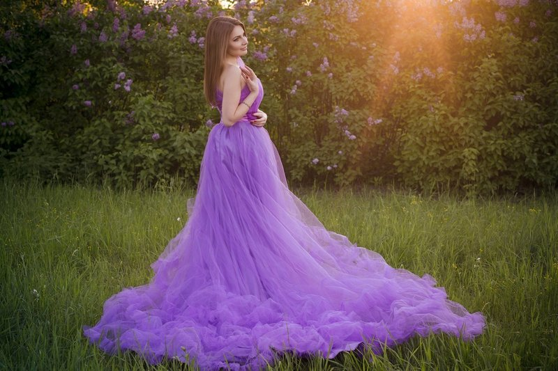 Лавандовое свадебное платье