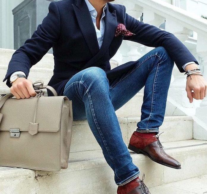 Мужчина в скинни с портфелем