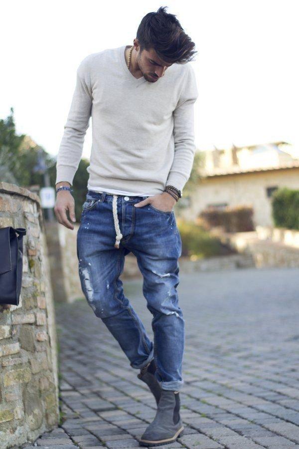 Потёртые джинсы с отворотом
