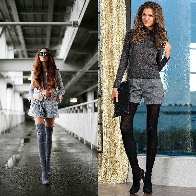 Осенние шорты серого цвета