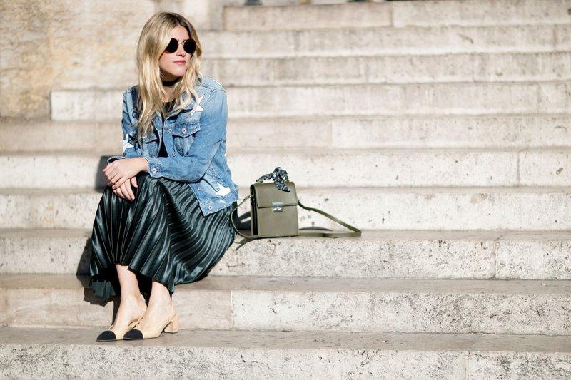 Образ с туфлями с квадратным каблуком