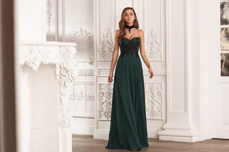 Зеленое платье с корсетом