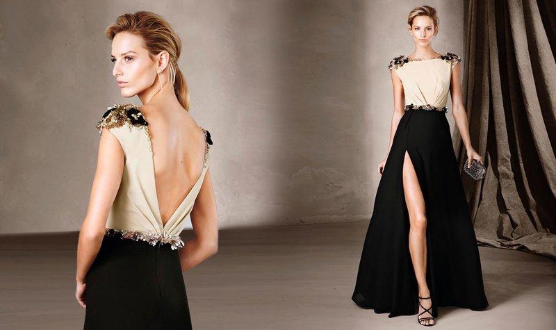 Платье с разрезом и открытой спиной