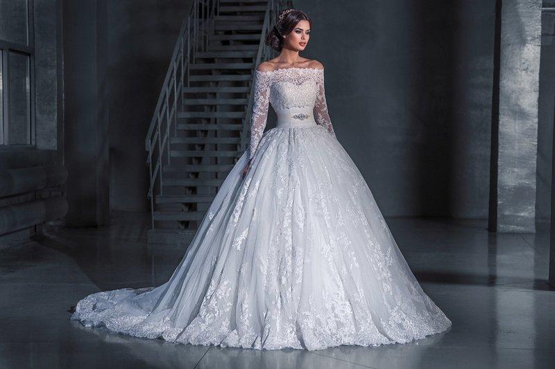 Белое пышное платье на свадьбу