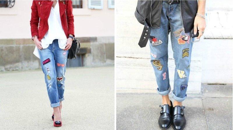 Модные джинсы с заплатками