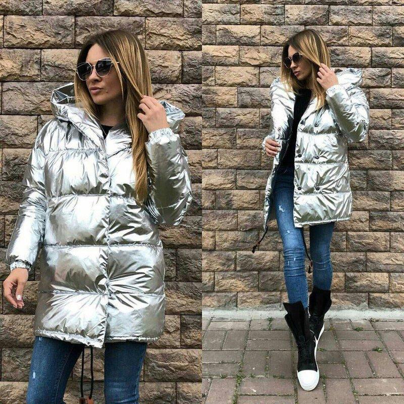 Блестящая дутая куртка
