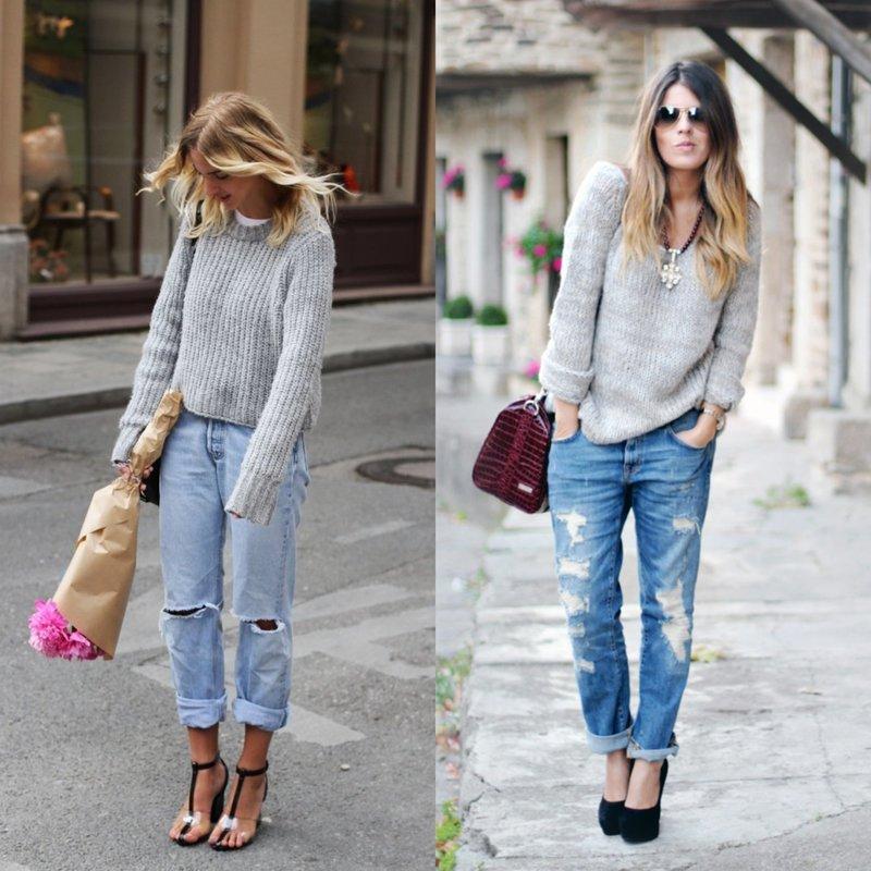 Женские джинсы бойфренды со свитером