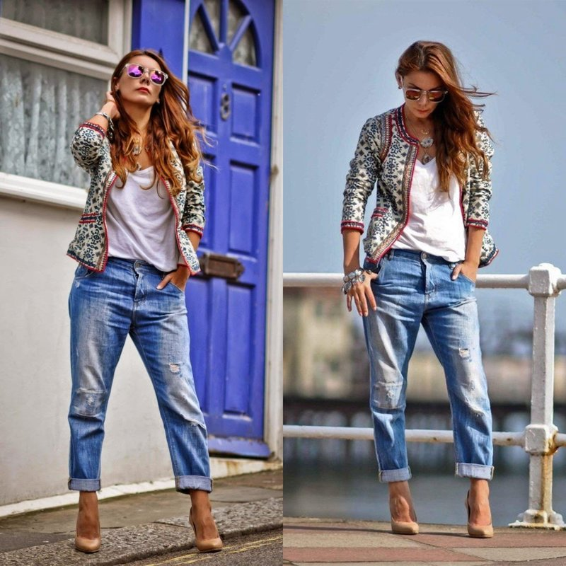 Вечерний образ в стильных джинсах