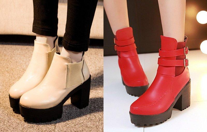 Стильные ботинки с широким каблуком