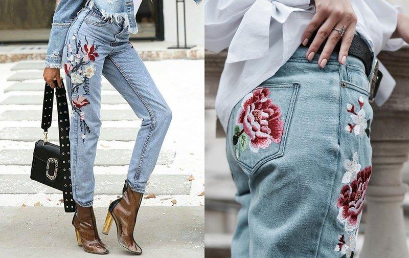 Декор джинс ручной вышивкой
