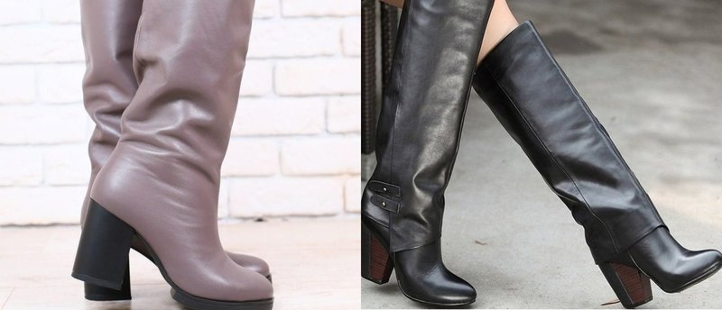 Свободная модель зимней обуви с широким каблуком