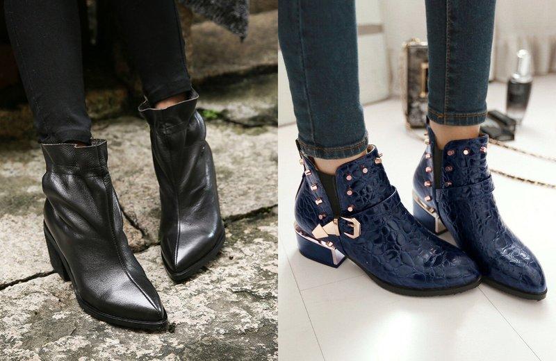 Модели обуви с острым носком
