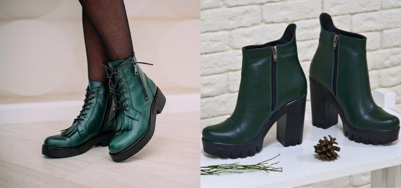 Сине-зеленые ботинки осень-зима